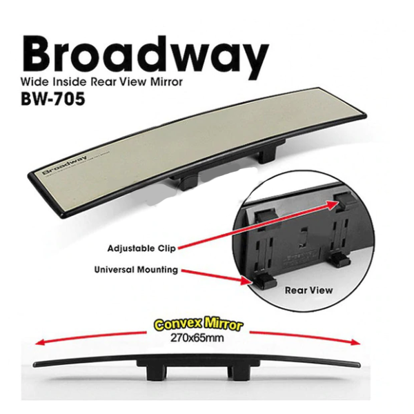 Broadway 270mm Interior Rear View Mirror Convex