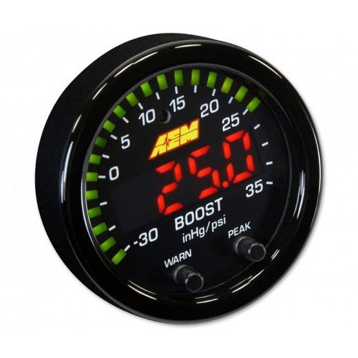 AEM X-Series Boost Pressure Gauge -30inHg~35psi / -1~2.5bar. Black Bezel & Black Faceplate