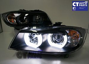 Black 3d LED DRL Angel-Eyes Projector Head Lights For Bmw 3-Series E91 E90 05-08 Sedan