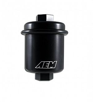 AEM High Volume Fuel Filter. Black. Acura & Honda. Inlet: 14mm X 1.5 Outlet: 12mm X 1.25