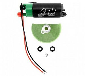 AEM 320lph E85-Compatible High Flow In-Tank Fuel Pump (65mm Short Offset Inlet, Inline). 320lph@43psi. Includes Fuel Pump, installation instructions, wiri