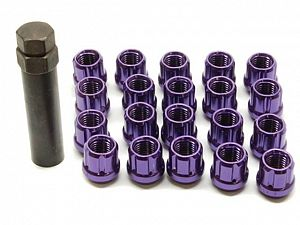 Muteki Open Ended Tuner Lightweight Lug Nuts M12x1.5mm Purple 20pcs