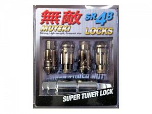 Muteki SR48 Locking Lug Nuts Set M12x1.25mm Chrome Titanium
